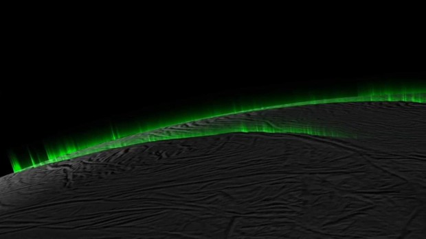 "The water vapor jets on Enceladus are now thought to mostly be more like diffuse ""curtains"" rather than separate plumes. Image Credit: NASA/JPL-Caltech/SSI/PSI"