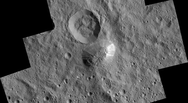 View of Ahuna Mons from the low-altitude mapping orbit (LAMO). Image Credit: NASA/JPL-Caltech/UCLA/MPS/DLR/IDA/PSI