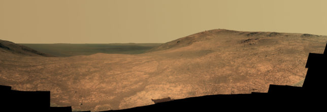 Panoramic view of Marathon Valley as seen by the Opportunity rover. Photo Credit: NASA/JPL-Caltech/Cornell Univ./Arizona State Univ.