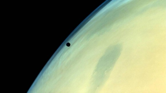 Phobos from afar as imaged by India's Mars Orbiter Mission (MOM) spacecraft. Eventually, Phobos will be ripped apart as it orbits closer and closer to Mars. Image Credit: ISRO