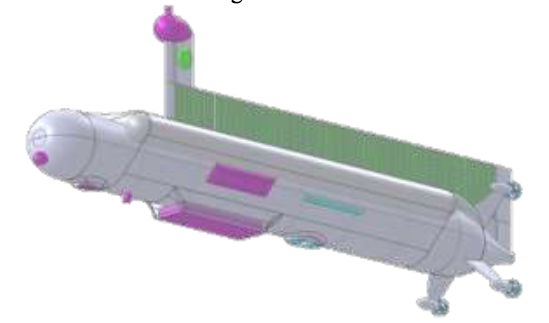 The basic design of the Titan submarine, including sidescan sonar, mast camera, seafloor camera, and seafloor sampling system. Image Credit: NASA