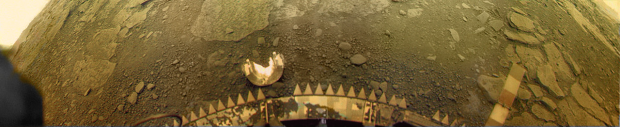 Venera 13 landing site panorama on Venus. This kind of flat terrain would be ideal for a landsailing rover. Image Credit: National Space Science Data Center