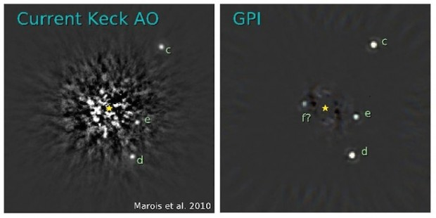 Simulation of planets imaged by the Keck Telescope (left) compared to GPI (right). Credit: Christian Marois / Herzberg Institute of Astrophysics and Marshall Perrin/Space Telescope Science Institute