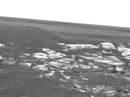 One of the first views inside Eagle crater, which Opportunity landed inside in 2004. The bright patches of bedrock provided some of the first clues about past water in this region. Photo Credit: NASA/JPL-Caltech