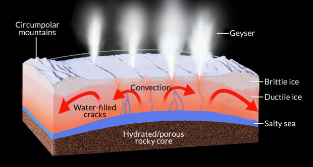 Diagram showing the interior of Enceladus as currently understood. Image Credit: NASA/JPL-Caltech/SSI