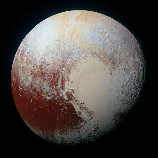 New high-resolution enhanced colour view of Pluto, depicting a range of subtle colours on the dwarf planet's surface. The image shows features as small as 1.3 kilometres (0.8 miles) across. Image Credit: NASA/JHUAPL/SwRI