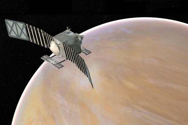 Artist's conception of the VERITAS spacecraft in orbit around Venus. Image Credit: NASA/JPL-Caltech