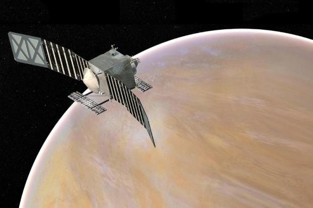 Artist's conception of the VERITAS spacecraft in orbit around Venus. Image Credit: NASA/JPL-Caltech