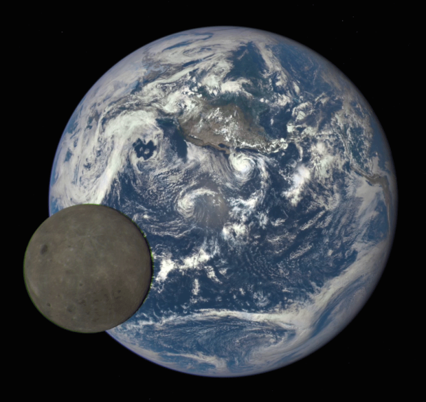 Still frame from the animation showing the Moon passing in front of the Earth. Image Credit: NASA/NOAA