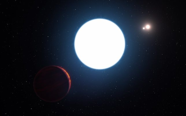 Artist's conception of the star system HD 131399, with the planet HD 131399Ab in the foreground. Image Credit: ESO/L. Calçada/M. Kornmesser