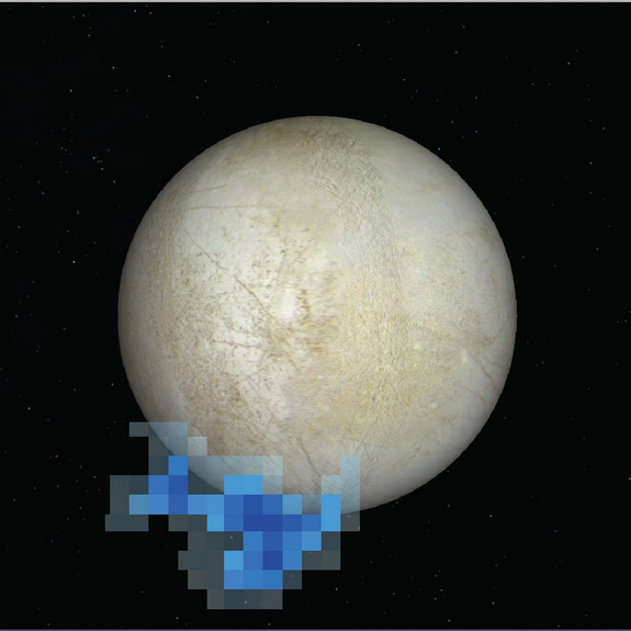 Hubble Space Telescope image of Europa showing area where water vapor was detected emanating from the surface in 2013. Image Credit: NASA/ESA/L. Roth/SWRI/University of Cologne