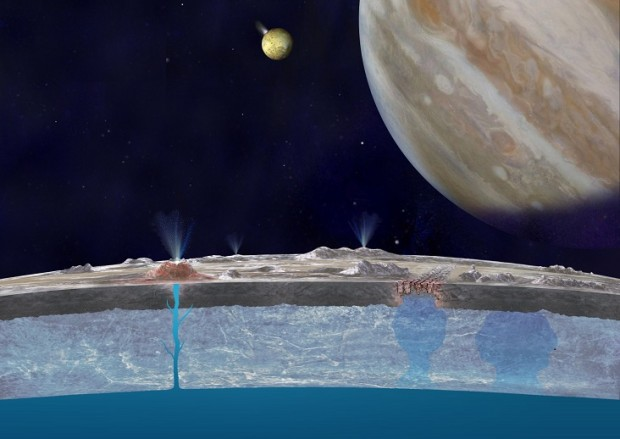 Artist's conception of Europa's interior, with water rising through cracks in the surface, depositing salts similar to sea salt on Earth. The ocean below may be a habitable environment for some kind of life. Image Credit: NASA/JPL-Caltech