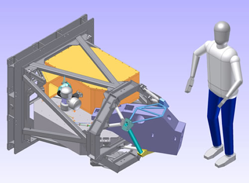 Illustration of the Gemini Planet Imager instrument, with a person to scale.Credit: Gemini Observatory