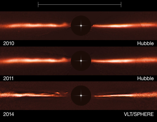 "Hubble and VLT images of the ""ripples"" within the debris disk surrounding the young star AU Microscopii. Image Credit: ESO/NASA/ESA"