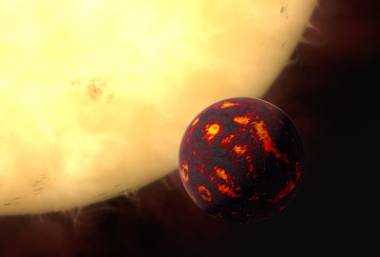 55 Cancri e orbits very close to its star, resulting in temperatures up to 3,600 degrees Fahrenheit (2,000 degrees Celsius). Image Credit: ESA/Hubble, M. Kornmesser