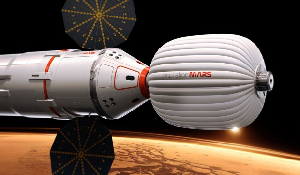 Artist's conception of the Inspiration Mars spacecraft during its flyby of Mars. Credit: Inspiration Mars Foundation