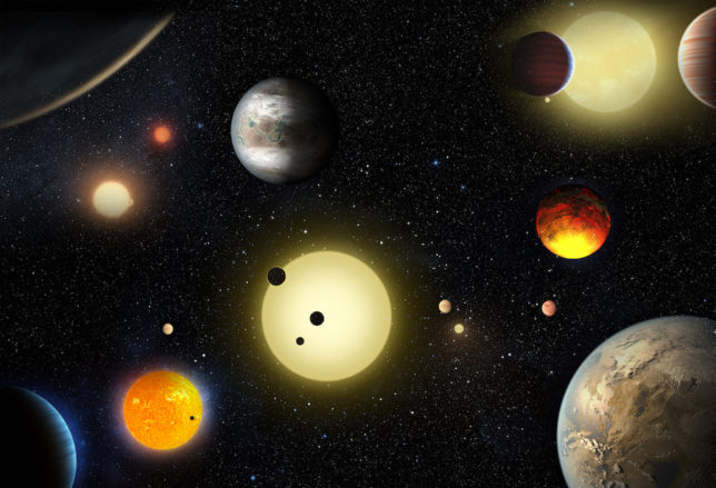 Artist's conception of the many different exoplanets that have been discovered by Kepler so far. Image Credit: NASA/W. Stenzel
