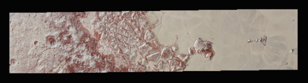 High-resolution image of swath across mountains and glaciers in Sputnik Planum, showing features as small as 250 meters (270 yards) across. Image Credit: NASA/JHUAPL/SWRI