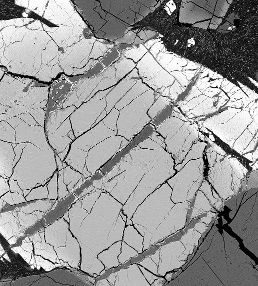 Electron microscope image of some of the clay veins in the Martian meteorite MIL 090030, which contain boron. Credit: University of Hawaii at Manoa NASA Astrobiology Institute (UHNAI)