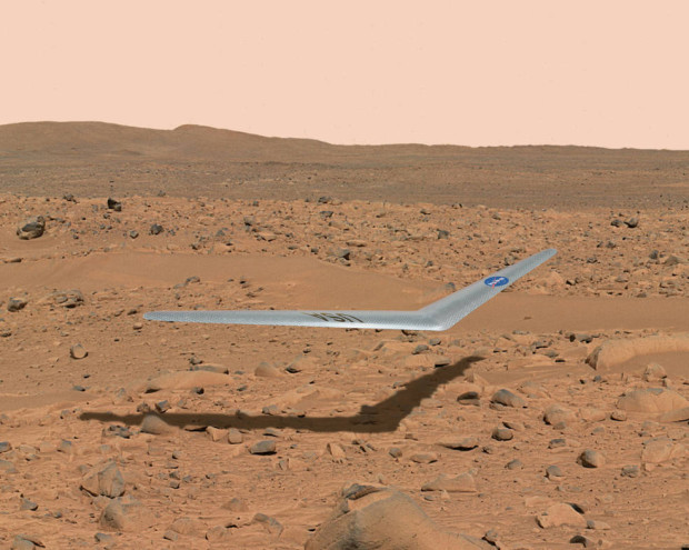 Artist's conception of the Prandtl-m airplane flying above the surface of Mars. Image Credit: NASA Illustration/Dennis Calaba