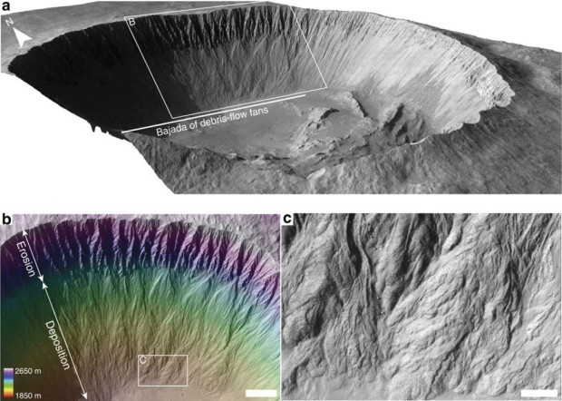 Illustration of debris flows inside Istok crater on Mars, which have provided evidence of large amounts of flowing water and mud in the past. The flows are very similar to ones on Earth in Arctic regions such as Iceland. Image Credit: Nature Communications