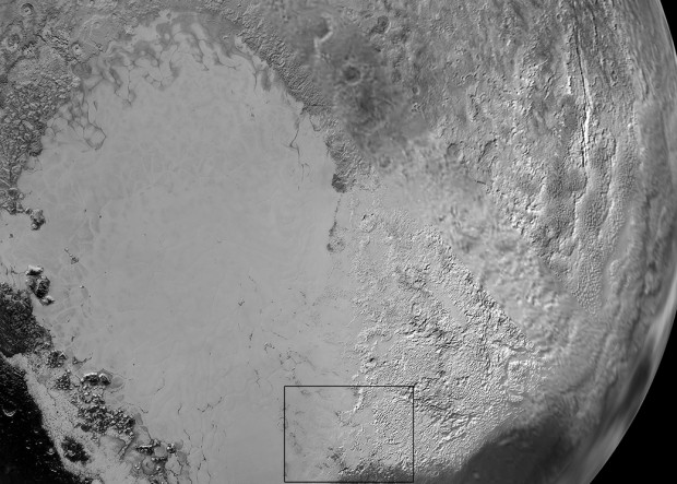 "Close-up view of Sputnik Planum, also known as Pluto's ""heart."" The smooth plains in this region are thought to be composed of nitrogen ice. Image Credit: NASA/JHUAPL/SwRI"