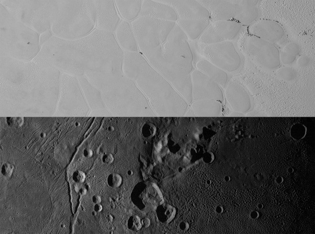 "Comparison of the surface of Pluto (top) and Charon (bottom). The smooth ice plains on Pluto are marked by troughs and the ""mountain in a moat"" on Charon is seen from above, near the center of the image. Image Credit: NASA/JHUAPL/SwRI"