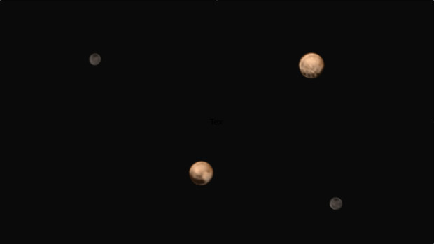 """New colour images of Pluto sent back by New Horizons showing two different """"faces"""" or hemispheres of the dwarf planet and its largest moon Charon. Image Credit: NASA/Johns Hopkins University Applied Physics Laboratory/Southwest Research Institute"""
