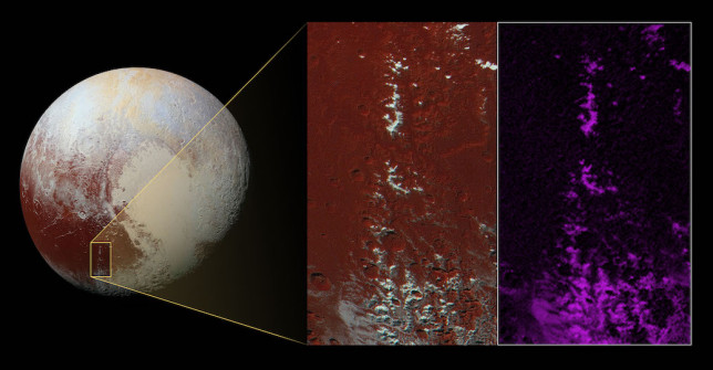 "Methane ""snow"" on mountain peaks in the Cthulhu region of Pluto. The enhanced colour version of the inset image is on the left and the false colour version is on the right. The image covers an area 450 kilometres (280 miles) long by 225 kilometres (140 miles) wide. Image Credit: NASA/JHUAPL/SwRI"