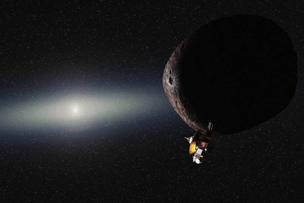 Artist's conception of New Horizons at 2014 MU69. Image Credit: NASA/JHUAPL/SwRI/Alex Parker