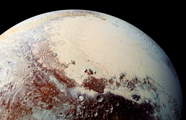 "While the ""snow"" on Pluto's mountains is composed of frozen methane, the vast icy plains of Sputnik Planum are nitrogen ice. The basin containing the ice was probably created by a huge impact. Photo Credit: NASA/JHUAPL/SwRI"