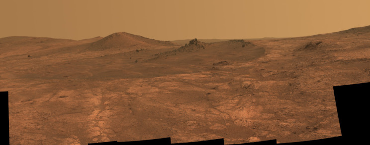"The ""rock spire"" seen by the Opportunity rover in the Spirit of St. Louis crater. Image Credit: NASA/JPL-Caltech/Cornell Univ./Arizona State Univ."