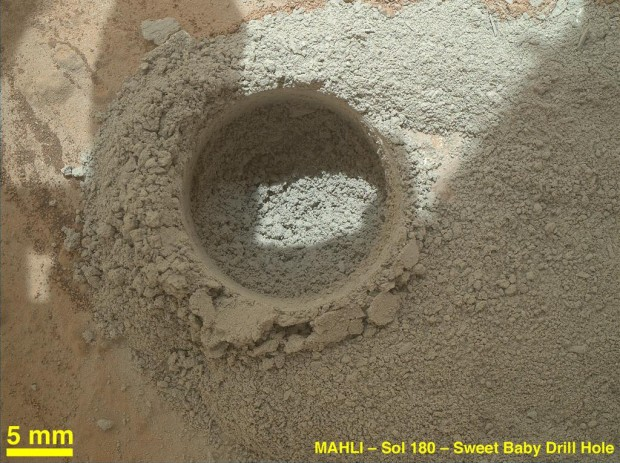 Curiosity's MAHLI image of the first-ever drill hole on Mars. Credit: NASA / JPL-Caltech / MSSS