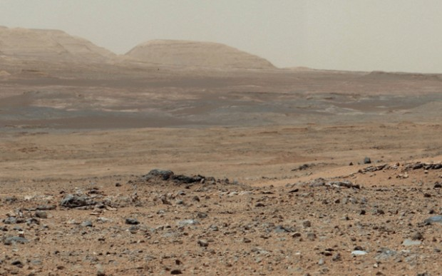 View from Curiosity on sol 343 looking towards some of the foothills of Mount Sharp in the distance. Credit: NASA / JPL-Caltech