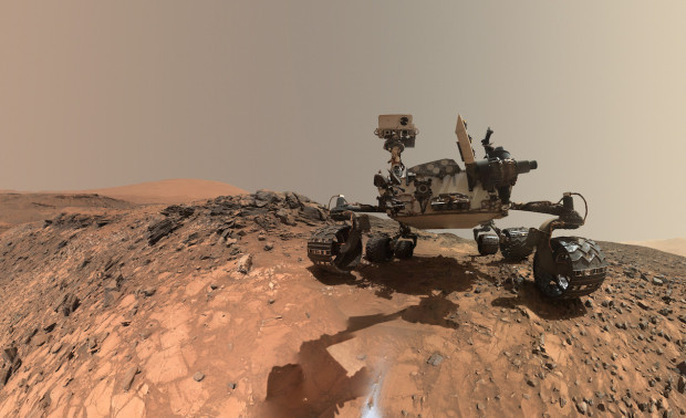 "New low-angle ""selfie"" of the Curiosity rover taken while it was in Marias Pass, consisting of multiple images stitched together. Image Credit: NASA/JPL-Caltech/MSSS"