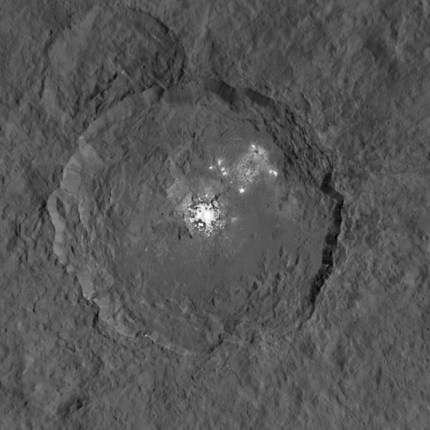 The highest-resolution view so far of the bright spots in Occator crater. New evidence suggests they are salt deposits. Image Credit: NASA/JPL-Caltech/UCLA/MPS/DLR/IDA