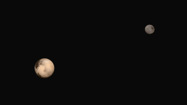 Pluto and its largest moon Charon as seen by New Horizons. Image Credit: NASA/Johns Hopkins University Applied Physics Laboratory/Southwest Research Institute