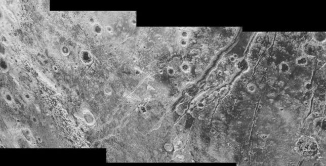 The discovery of huge faults on Pluto provides evidence for a possible liquid water ocean beneath the ice crust. Photo Credit: NASA/JHUAPL/SwRI