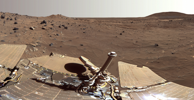 View from the Spirit rover looking toward Husband Hill on the right, with the lighter-toned Home Plate rock outcrop below that. Image Credit: NASA/JPL-Caltech