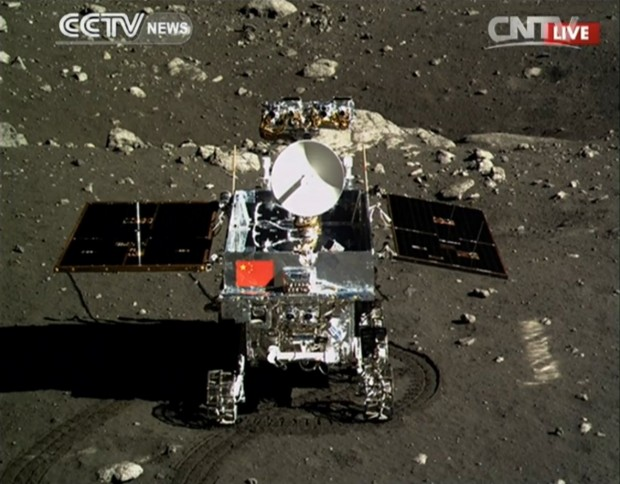 The Chinese rover Yutu or Jade Rabbit, on the lunar surface. Credit: CNTV/CCTV
